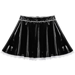 Image 5 - Dienstmeisjes Cosplay Exotische Kostuums Clubwear Minirok Outfit Sexy Latex Franse Dienstmeid Babydoll Uniformen Sissy Fancy Dress
