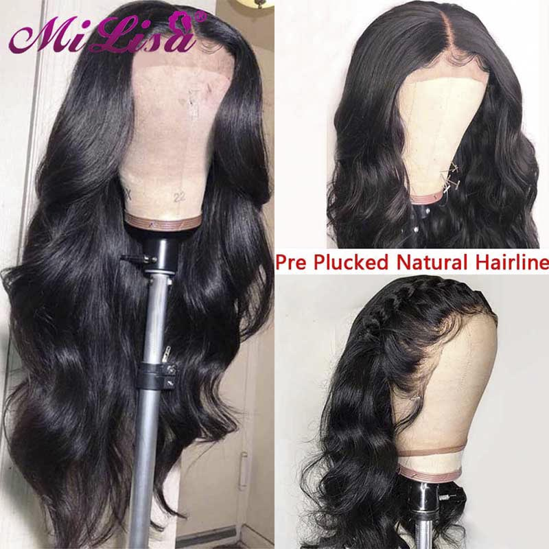 Glueless Lace Front Human Hair Wig For Black Women Brazilian Body Wave Wig Pre Plucked With Baby Hair Long Remy Lace Frontal Wig