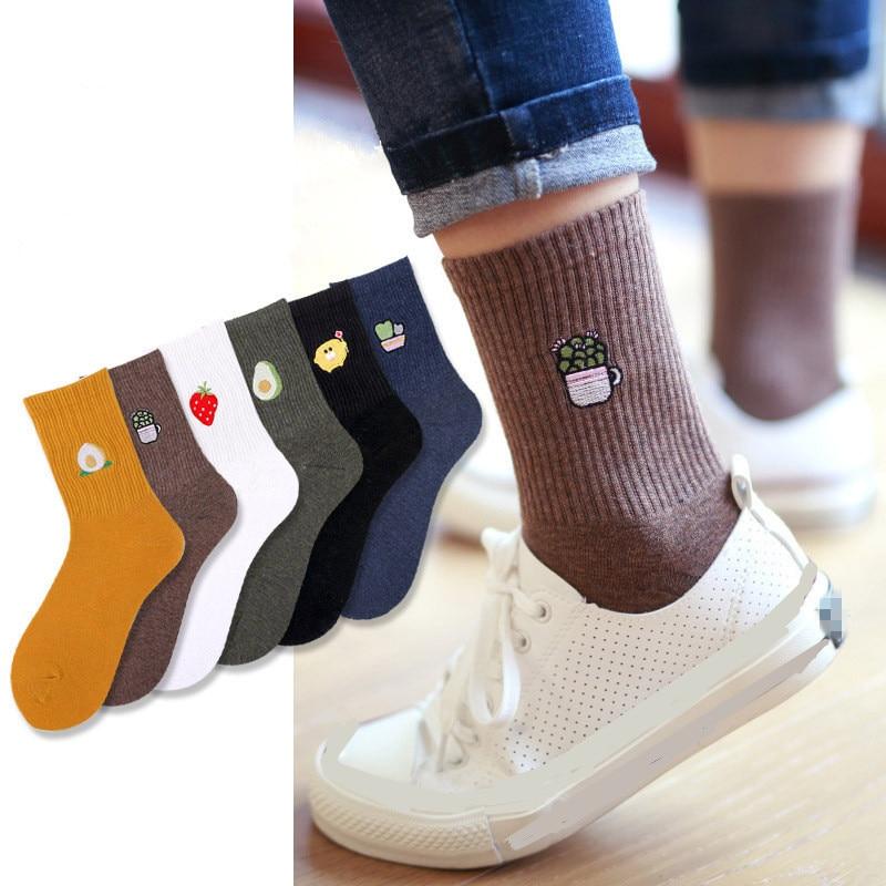 2020 Women Embroidery Fruit Print Socks Girl Cotton Autumn Winter Spring Vintage Streetwear Short Socks Sox