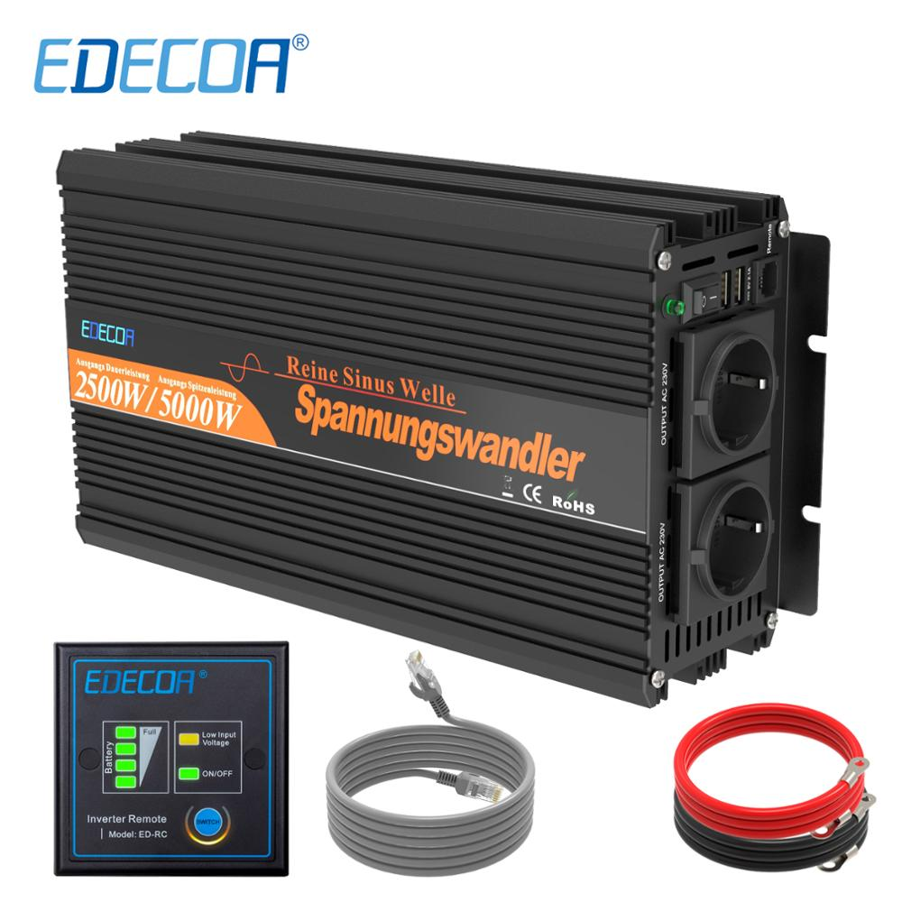 EDECOA DC 12V zu AC 220V reine sinus welle off grid power <font><b>inverter</b></font> 2500 <font><b>watt</b></font> <font><b>5000</b></font> <font><b>watt</b></font> peak konverter mit fernbedienung USB port image