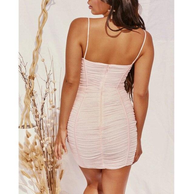SRUBY Ruched Mesh Sexy Dress Women Spaghetti Strap Mini Night Club Party Dresses Backless Zipper Bodycon Summer Dress Vestidos 4