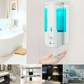 450mL Automatic Soap Dispenser Wall Pump Infrared Induction Smart Liquid Shampoo Foam Soap Dispenser Bottle for Kitchen Bathroom цена 2017