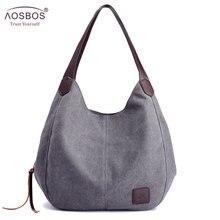 Aosbos 2019 Brand Womens Canvas Handbag High Quality Female Shoulder Bag Vintage Solid Multi pocket Fashion Ladies Totes Female
