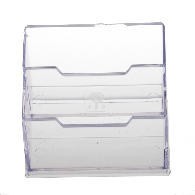Desktop Business Card Holder Display Stand 2 Compartments
