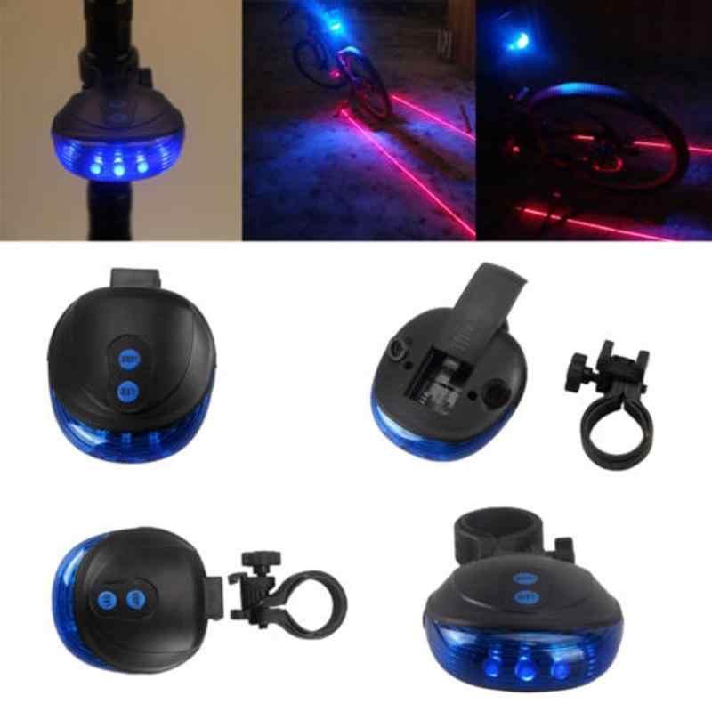 5 블루 led 2 레이저 빔 자전거 사이클링 테일 리어 라이트 안전 경고 램프