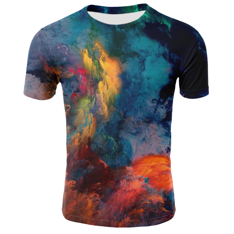 Colorful Printing 3D T Shirt Casual Summer Style Fashion Print Short Sleeve Tees Men Tops Color Print Art Streetwear Plus Size