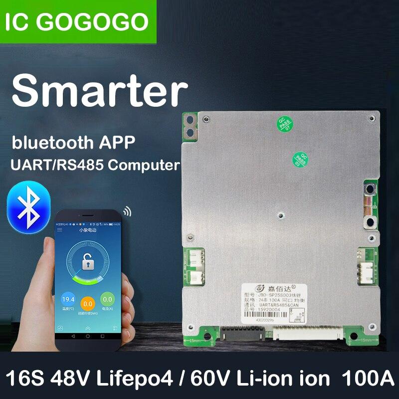 JBD 16S 48V Lifepo4 60V Li-ion płyta zabezpieczająca baterię litową inteligentna komunikacja Bluetooth BMS 100A RS485 PC APP telefon UART