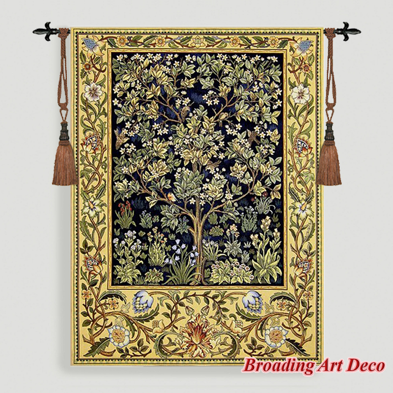 William Morris Tree of Life Tapestry Wall Hanging Jacquard Weave Gobelin Home Textile Art Decoration Cotton