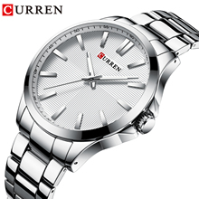 CURREN Silver Business Men Watch Luxury Quartz Wristwatch Waterproof Stainless Steel Band Calendar Dial Clock Relogio Masculino