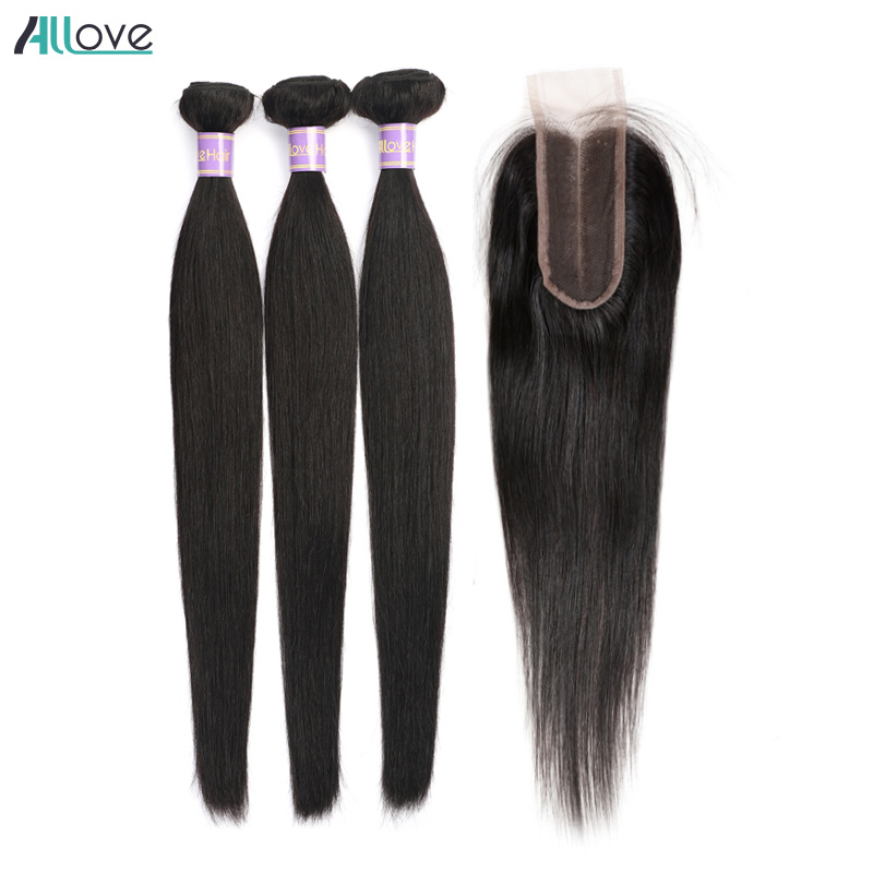 Malaysian Straight Hair With Closure Allove Hair Extension Bundles With Closure Non Remy 2/3 Human Hair Weave With Lace Closure
