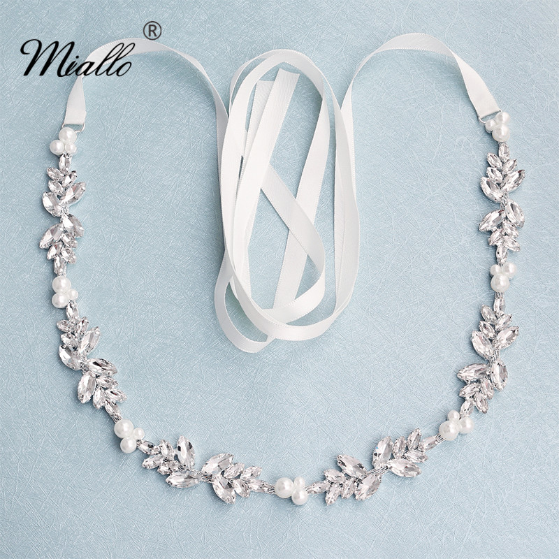 Miallo Fashion Flowers Austrian Crystal Pearls Wedding Belts & Sashes for Dress Jewelry Accessories Bridal Women Sash