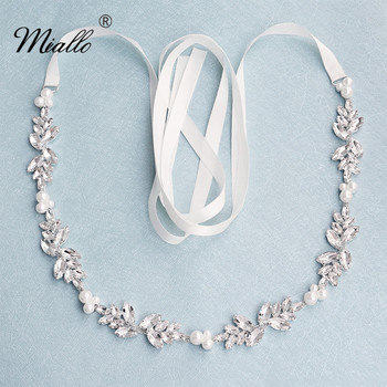 Miallo Fashion Flowers Austrian Crystal Pearls Wedding Belts & Sashes for Dress Jewelry Accessories Bridal Women Sash - discount item  40% OFF Wedding Accessories
