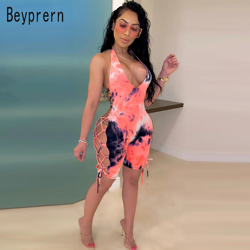 Beyprern New Chic Tie Dye Print Romper Summer Womens Fashion Back Laced Up Bandage Short Jumpsuit Macacao Feminino Club Overalls