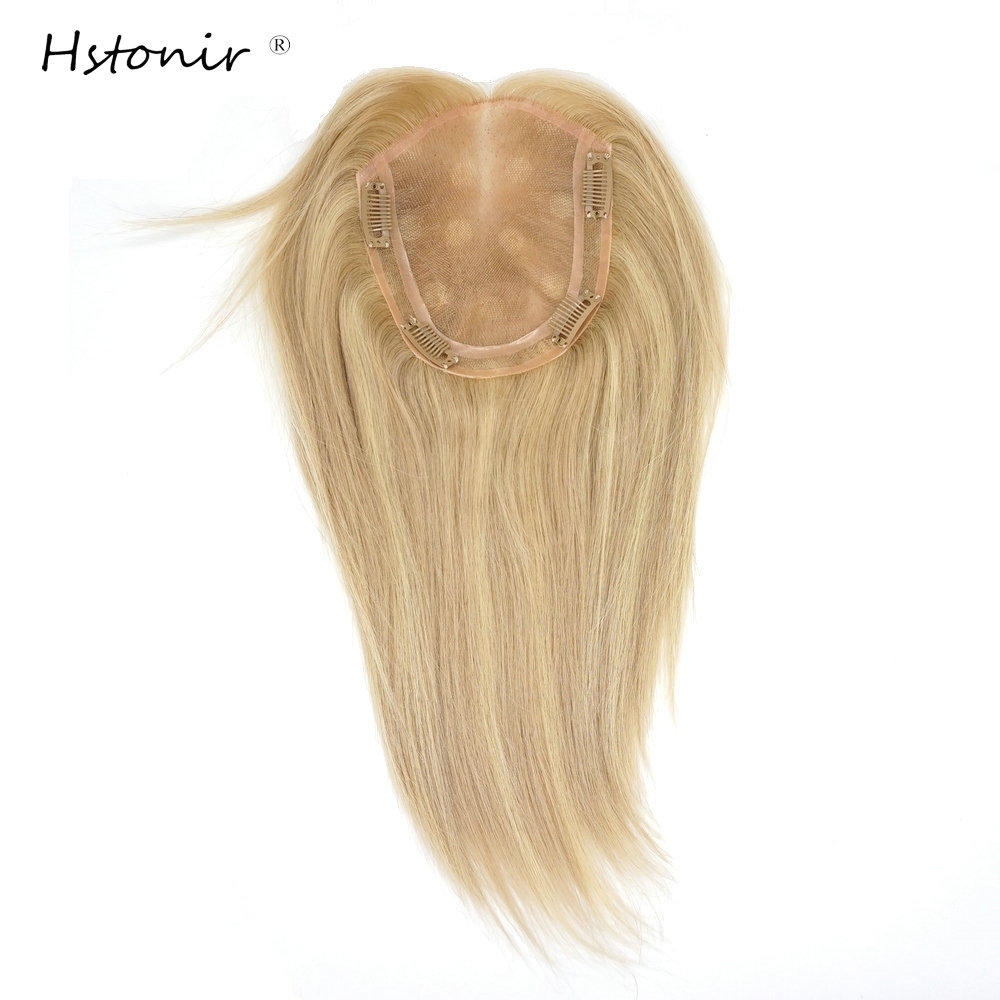 Hstonir 22/60# Womens Human Hair Toppers European Remy Hair Toupet Cheveux Humain Toupee Magic Hair Clip TP33