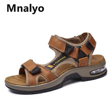 Mnalyo marka prawdziwej skóry męskie buty letnie nowe duże rozmiary męskie sandały męskie sandały moda sandały kapcie duży rozmiar 38-47 tanie tanio Skóra bydlęca Podstawowe Mesh RUBBER Hook loop Mieszkanie (≤1cm) Pasuje prawda na wymiar weź swój normalny rozmiar