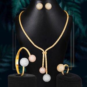 Набор украшений для женщин GODKI, набор украшений для женщин из 4 предметов: ожерелье, серьги, браслет, вечерние наборы