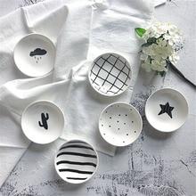 Tableware Dishes Vinegar-Plates Kitchen-Tool Seasoning Soy-Sauce Star Black White 3pcs