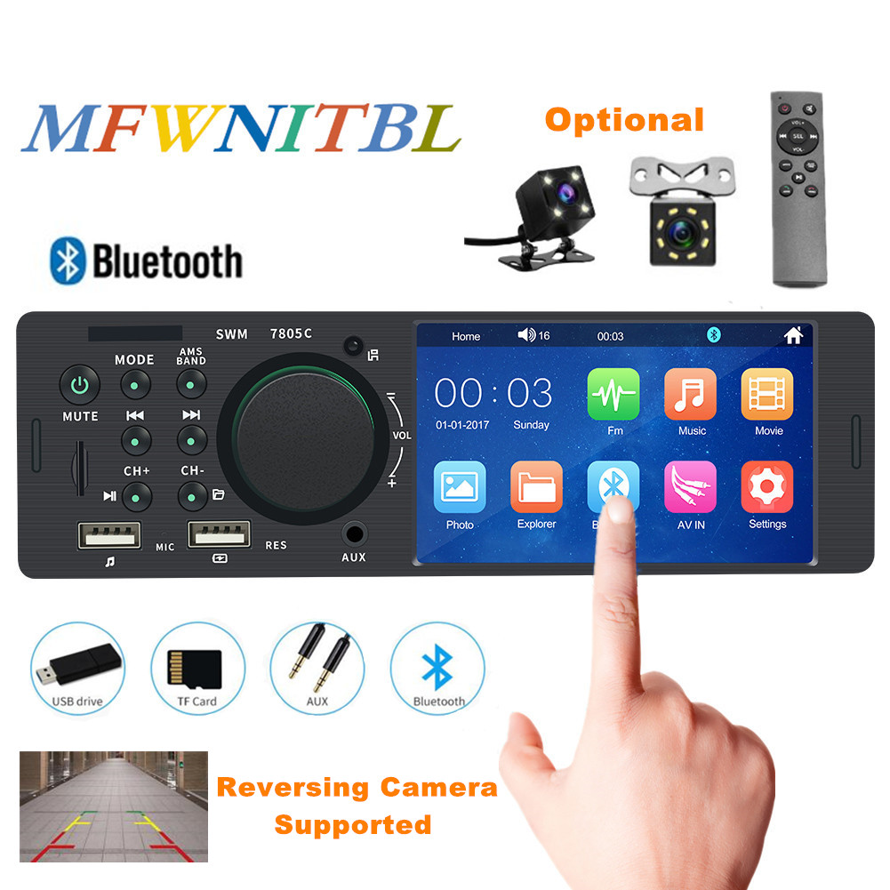 4.1 touch screen autoradio bluetooth car radio 1 din audio car stereo auto mp5 multimedia player 12V USB Remote Control Camera image