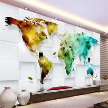 Custom wallpaper 3D photo murals colorful world map decorative painting TV background wall paper living room hotel 3d wallpaper цена 2017