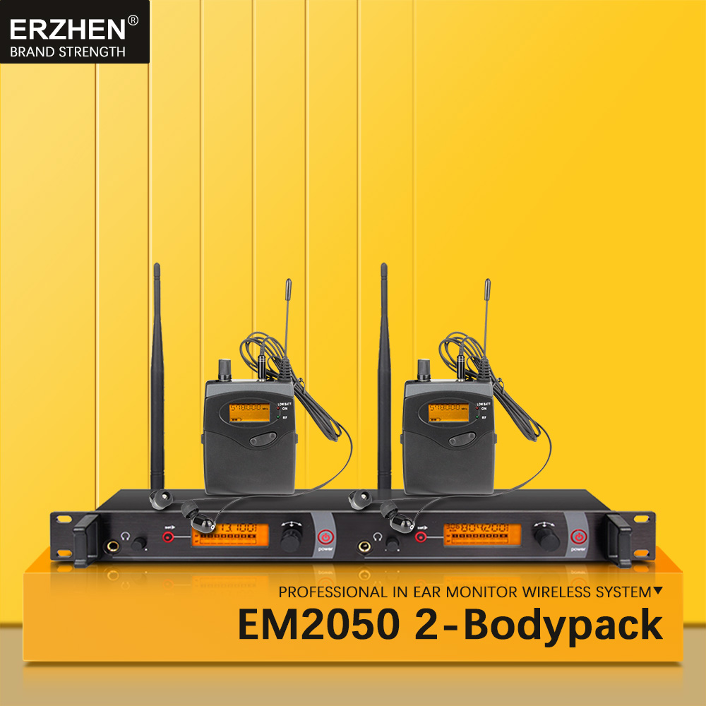 EM2050 dans le système sans fil de moniteur d'oreille SR2050 Double surveillance d'émetteur 2 bodypack professionnel pour la représentation d'étape de studio