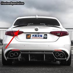 Giulia zmodyfikowany koniczyny styl z włókna węglowego tylny spoiler szyby bagażnika samochodu skrzydło dla alfa romeo Giulia 2017UP w Spoilery i skrzydła od Samochody i motocykle na