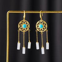 CMajor S925 Sterling Silver European and American Style Fashion Temperament White Jade Tassel Turquoise Drop Earrings for Women