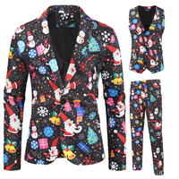 Casual Suits Men with 3D Printing on Christmas Day or New Year Mens Suit Multi Color Personality Coat
