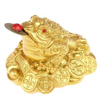 Feng Shui Toad Money LUCKY Fortune Wealth Chinese Golden Frog Toad Coin Home Office Decoration Tabletop Ornaments Lucky Gifts 8