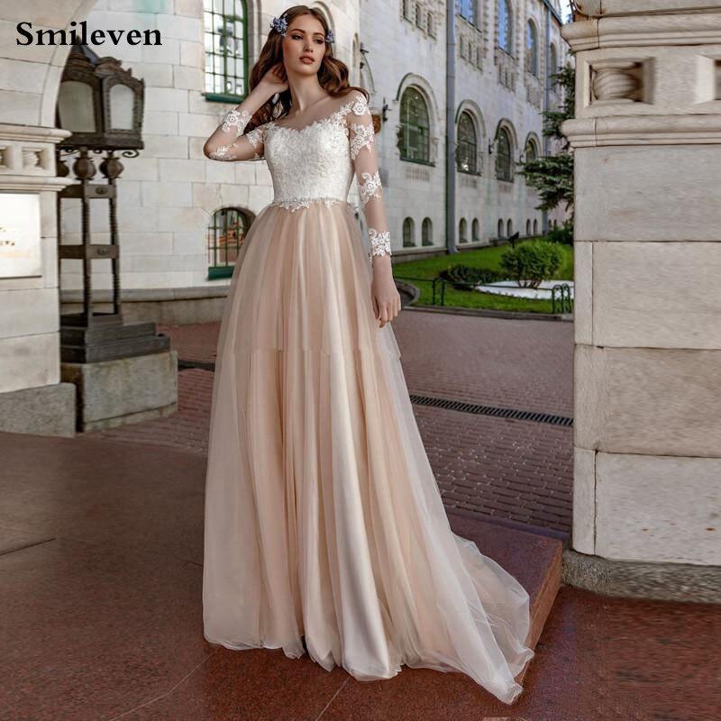 Smileve Champagne Boho Wedding Dress Long Sleeve A Line Bride Dresses Top Lace Wedding Gowns Robe De Mariee