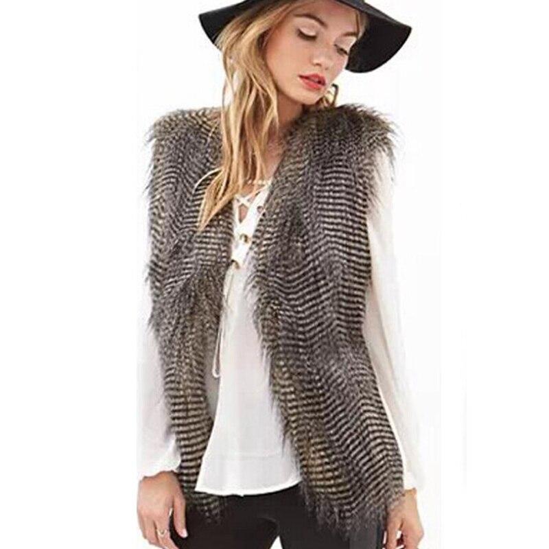 Ženy Faux Peacock Fur Vesta Gilet Fashion Slim Umělé kožešiny Kabát dlouhý peří bunda Oblečení vesta PC008