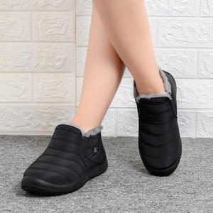 Women Shoes Footwear Ankle-Boots Waterproof Winter Slip-On Ultralight Female Warm Flat