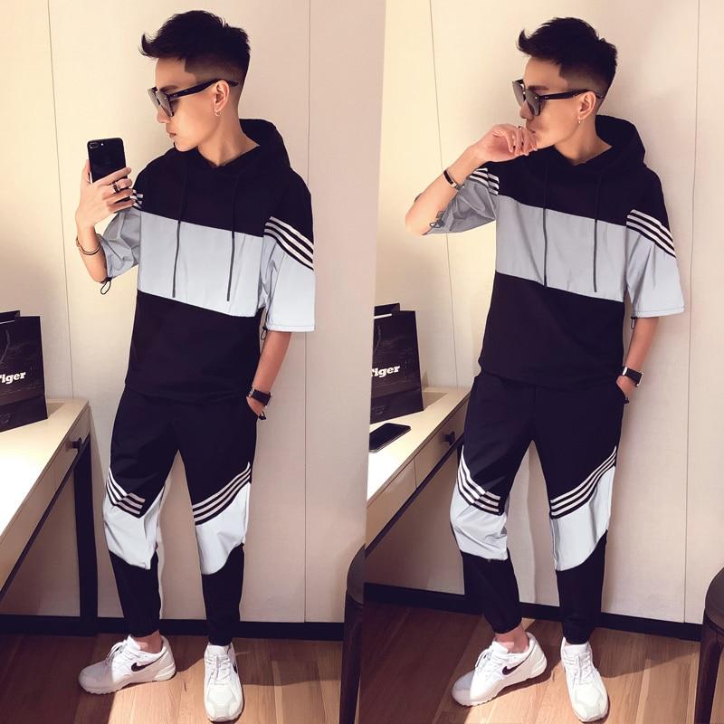 Sportswear Set Spring Hoodies Short Sleeve Set Men Tracksuit Patchwork Hip Hop Sweatshirt+pant Male Casual 2 Pieces Track Suit
