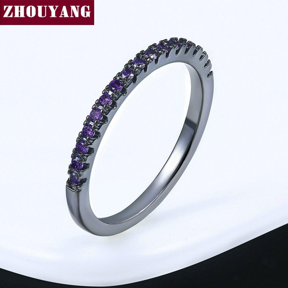 ZHOUYANG обручальное кольцо для женщин и мужчин лаконичное классическое многоцветное мини кубическое циркониевое розовое золото цвет подарок модное ювелирное изделие R251 - Цвет основного камня: R188
