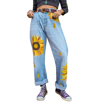 Women Wide Leg Denim Jeans Big Floral Print Boyfriends Jeans Autumn Mid Waist Casual Jeans Femme High Street vaqueros mujer