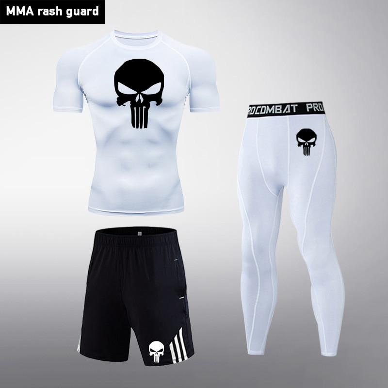 Top 3 Piece Suit Men's Compression Sport Suit Rash Gard MMA Tactical Leggings 2020 New Skull Gym Track Suit Brand Male Clothing