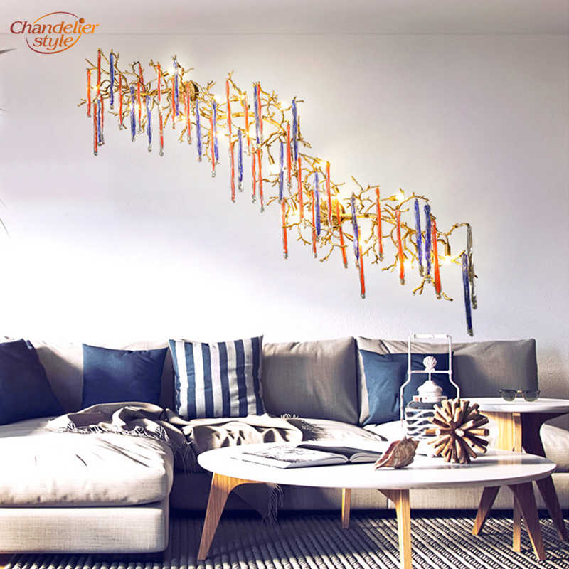 Роскошный медный настенный светильник из латуни ветка дерева Наклейка на стену свет стеклянные капли настенные бра освещение гостиная столовая освещение