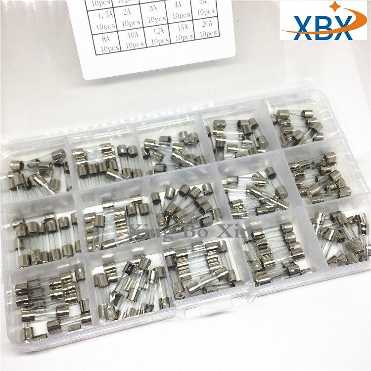 Быстрораздуваемые стеклянные трубки, 15 видов, 150 шт., 5*20, быстрораздуваемые стеклянные трубные предохранители, разные комплекты 5X20 с коробко...