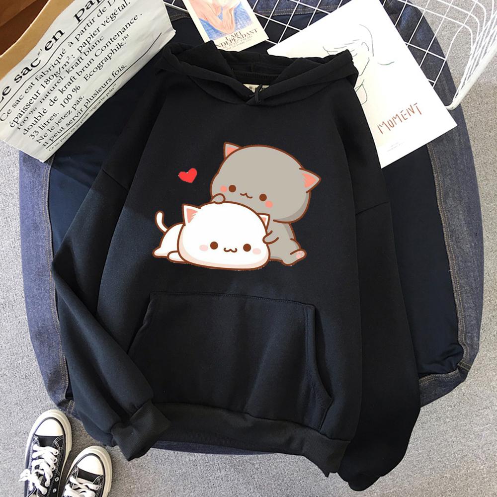 Autumn Winter Women's Hoodie Cute Casual Sweatshirt Cartoon Cat Print Fashion Korean Style Top Women's Loose Pullover Hoody