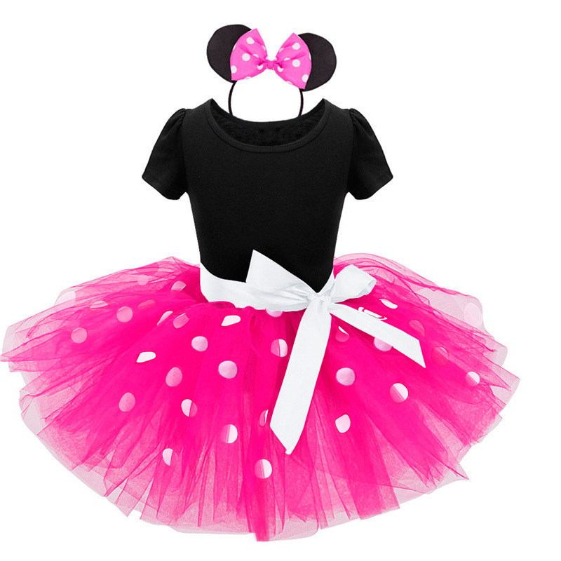 Baby Girls Birthday Party Tutu Princess Costume Toddler Kids Polka Dot Dress with Headband Outfits Children Vestidos 3