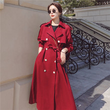 High Quality Double-breasted Trench Coat Women Autumn British Lapel Long Windbre