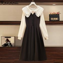 Conjunto de vestido de primavera para mujer, ropa de talla grande, Top y falda, Dolly de dos piezas