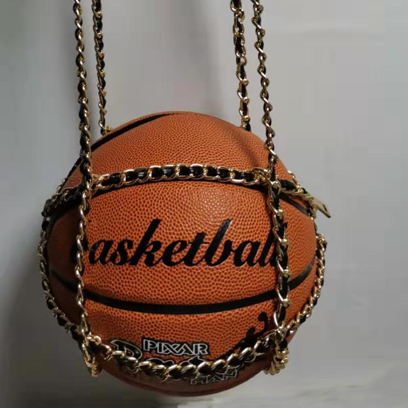 Xianjian Unique Handbag Of Basketball Shaped Unisex Girls*Boys Handbag Basketball Lovers Handbag With Snake Chain
