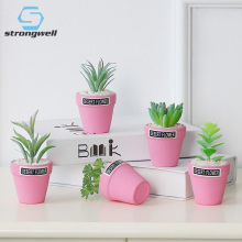 Strongwell Nordic Artificial Green Potted Plants Simulation Succulents Mini Bonsai Pink Potted Table Decoration Cute