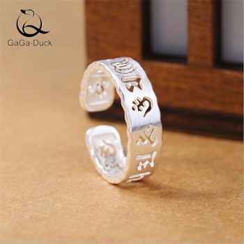 Nuevo Mantra creativo de seis palabras, Plata de Ley 925, joyería de moda, hueco, escritura antigua, anillos de apertura de la suerte R208