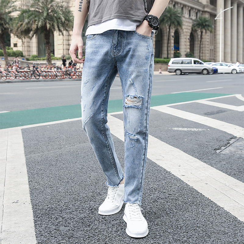 Autumn New Jeans Men Slim Fashion Washed Solid Color Casual Denim Pants Man Streetwear Wild Hip-hop Hole Jeans Male Clothes