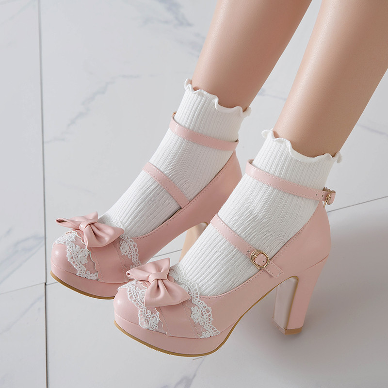 YQBTDL Summer 2020 Ladies Heels Platform Cute Bow Lace Princess Mary Jane Lolita Shoes Party High Heel Buckle Women Pumps Pink