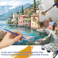 #H40 Villages Picture DIY Painting By Numbers Kits Landscape Modern Handpainted Oil Painting For Home Decors Artwork tanie tanio Art Sets