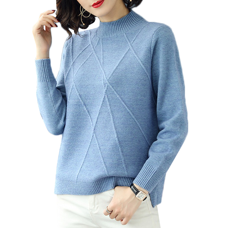 Autumn Winter Women Sweater Pullover New Solid Wild Soft Half Turtleneck Knit Bottoming Shirt Sweater Jumper Casual Female Tops