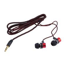 Słuchawki plecione okablowanie Super bas w uchu słuchawki muzyczne radio HIFI słuchawki douszne izolacja hałasu Sport słuchawki douszne z mikrofonem tanie tanio CN (pochodzenie) NONE Woodworking Line Type 3 5mm Common Headphone