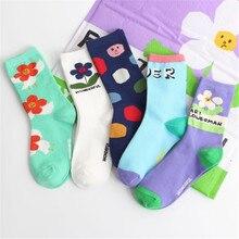 2019 New Fashion Classic Korean Flower Socks Female Cute College Wind Skateboard Cotton Tube Socks Wholesale цена и фото